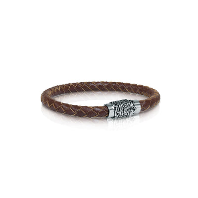 ENGRAVED CLASP BROWN LEATHER BRACELET