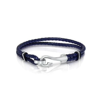FISH HOOK BLUE LEATHER BRACELET