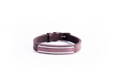 COFFEE-IP BROWN LEATHER ADJUSTABLE BRACELET