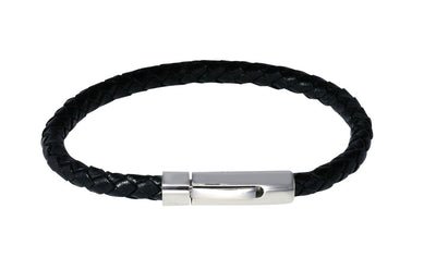 S.STEEL CLASP BLACK LEATHER BRACELET