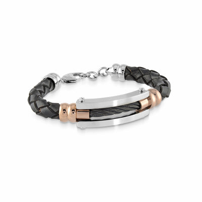 ROSE-IP BLACK CABLE LEATHER BRACELET