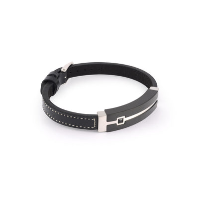 ITALGEM STEEL BLACK SPINEL LEATHER BRACELET