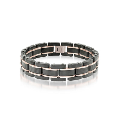 ITALGEM STEEL POLISHED BRUSHED-MENS BRACELET