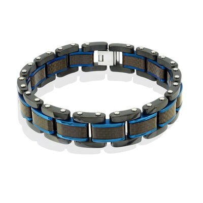 ITALGEM STEEL  POLISHED-BRUSHED CARBON-FIBRE MENS-BRACELET