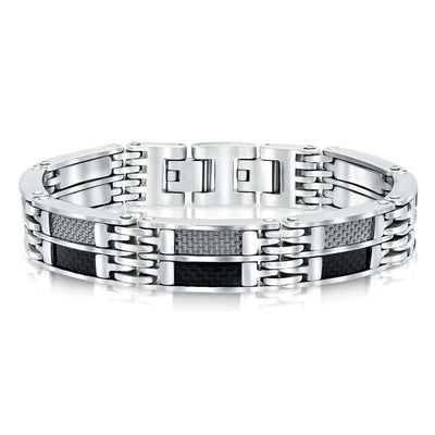 S.STEEL BLACK-C.F. WHITE-C.F. MENS BRACELET