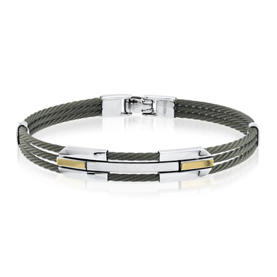 BLACK 18K GOLD CABLE BRACELET