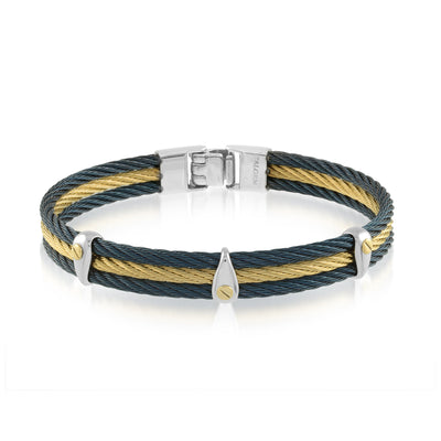 18K NAVY-YELLOW-IP 3-ROW CABLE BRACELET