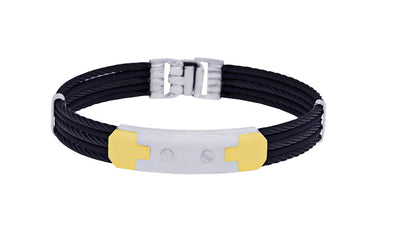 18K MEN'S STEEL 5-ROW BLACK CABLE BRACELET