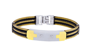 18K YELLOW-BLACK 5-ROW CABLE BRACELET