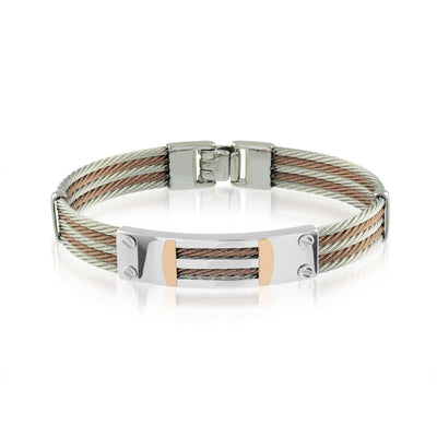 ITALGEM STEEL COFFEE CABLE AND 18 K ROSE GOLD BRACELET
