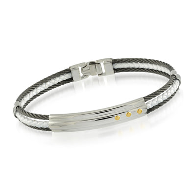 ITALGEM STEEL MEN 'S  STEEL CABLE AND LEATHER BRACELET