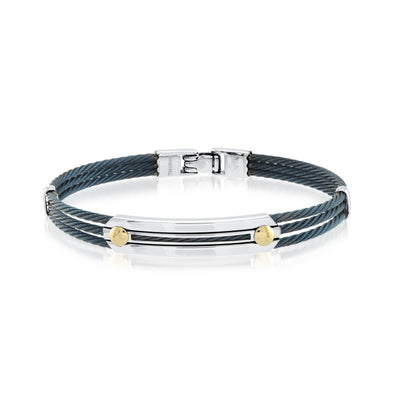 BLUE  CABLE 18K YELLOW GOLD BRACELET