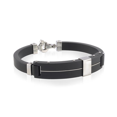 ITALGEM STEEL BLACK- FORGED MENS BANGLE