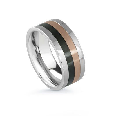 ITALGEM STEEL STAINLESS STEEL BLACK-IP ROSE-IP SPIN-RING