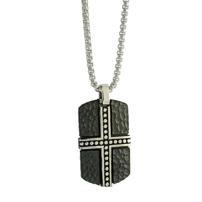BLACK-IP S.STEEL HAMMERED CROSS-DOGTAG NECKLACE