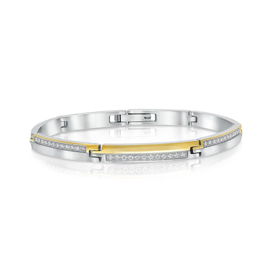 ITALGEM STEEL WHITE-CZ BRUSHED-POLISHED BRACELET