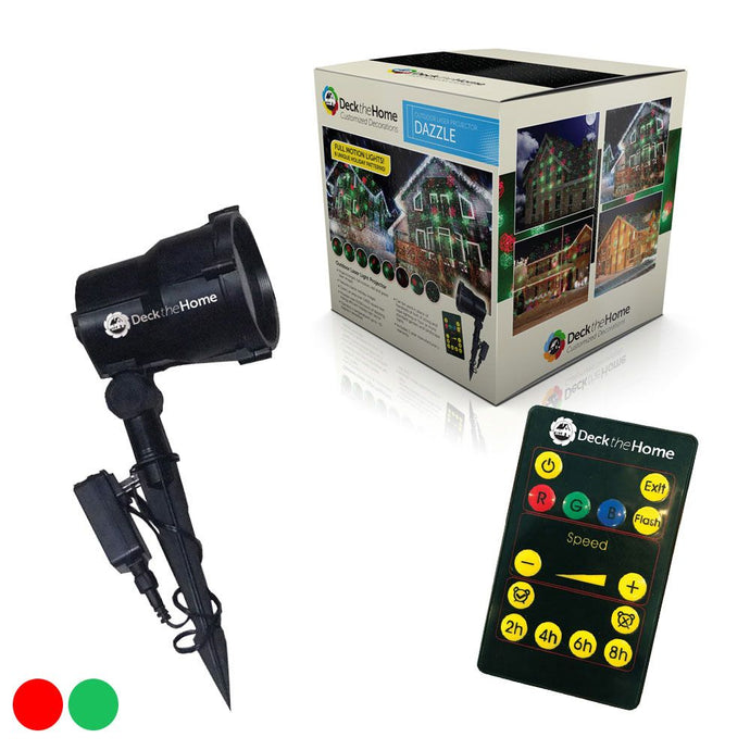 Dazzle Red & Green Full Motion 8 Christmas Images Garden Laser Light w/ Remote