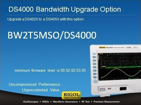 BW2T5-MSO/DS4000 estensione banda a 500MHz   Upgrade Option - Rigol Italia