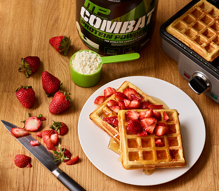 Strawberry Shortcake Protein Waffles