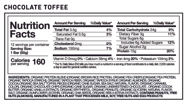 MP Natural Organic Protein Bar Chocolate Toffee flavor nutrition facts panel