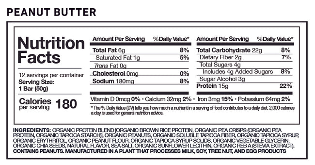 MP Natural Organic Protein Bar Peanut Butter flavor nutrition facts panel