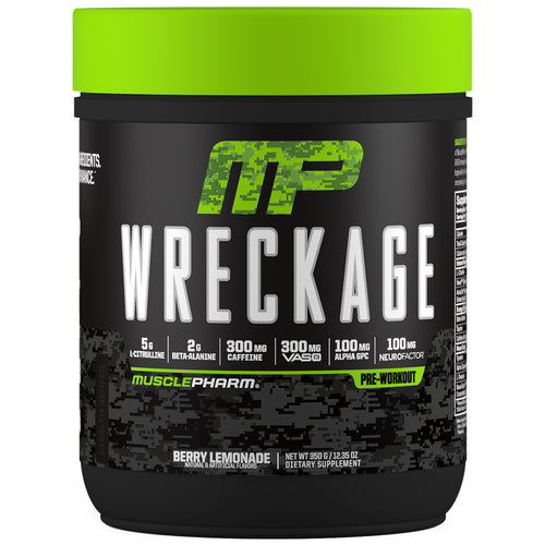 MusclePharm Wreckage Pre-Workout Berry Lemonade Front View Container