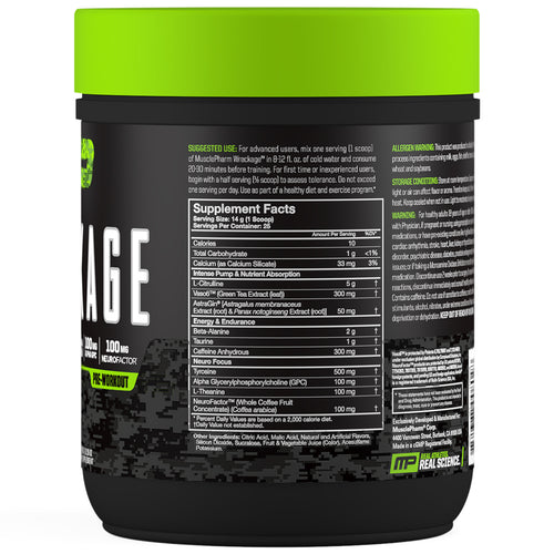 MusclePharm Wreckage Pre-Workout Berry Lemonade Side Panel View Container