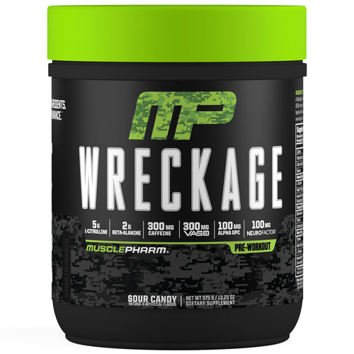 MusclePharm Wreckage Pre-Workout Sour Candy Front View Container