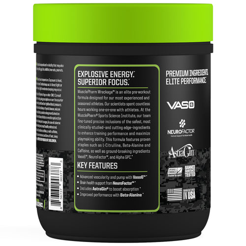 MusclePharm Wreckage Pre-Workout Sour Candy Supplement Facts Panel View Container
