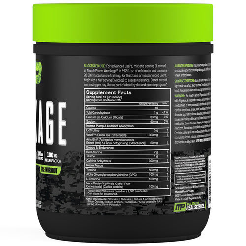 MusclePharm Wreckage Pre-Workout Sour Candy Side Panel View Container