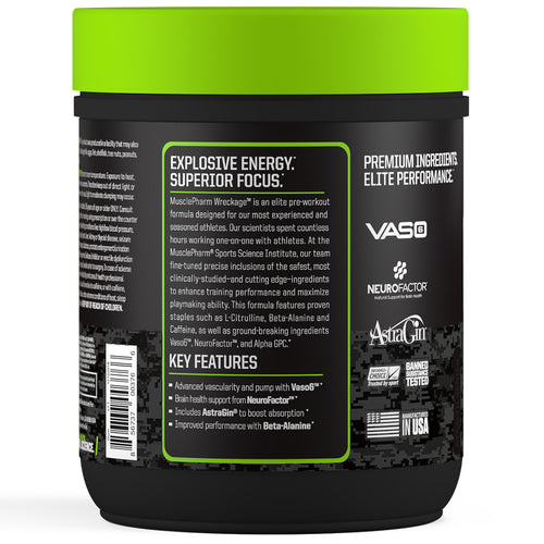 MusclePharm Wreckage Pre-Workout Fruit Punch Side Panel View Container