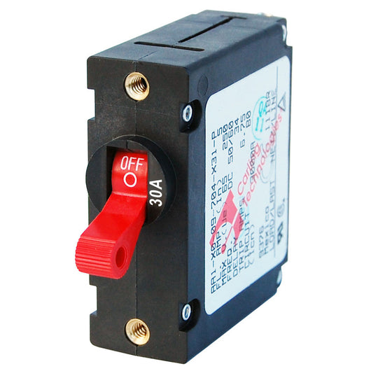 Blue Sea 7221 AC / DC Single Pole Magnetic World Circuit Breaker  -  30 Amp