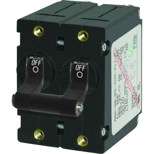 Blue Sea 7349 A-Series Double Pole Toggle - 32A - Black