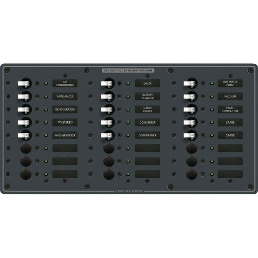Blue Sea 8165 AV 24 Position 230v (European) Breaker Panel - White Switches