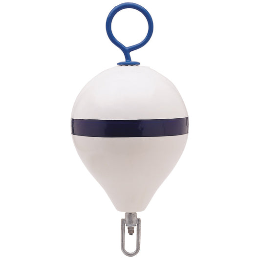 "Polyform Mooring Buoy w/Iron 13.5"" Diameter - White Blue Stripe"