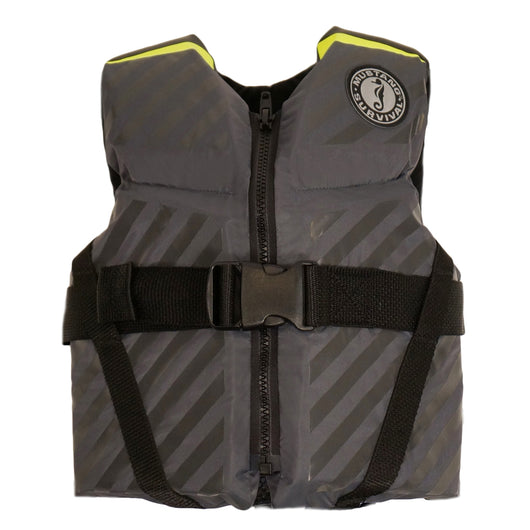 Mustang Lil' Legends 70 Youth Vest - 50-90lbs - Fluorescent Yellow-Green/Gray