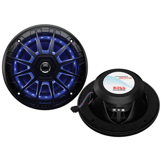 "Boss Audio MRGB65B 6.5"" 2-Way 200W Marine Full Range Speaker w/RGB LED Lights - Black - Pair"
