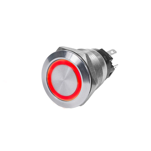 Blue Sea 4163 SS Push Button Switch - Off-(On) - Red - 10A