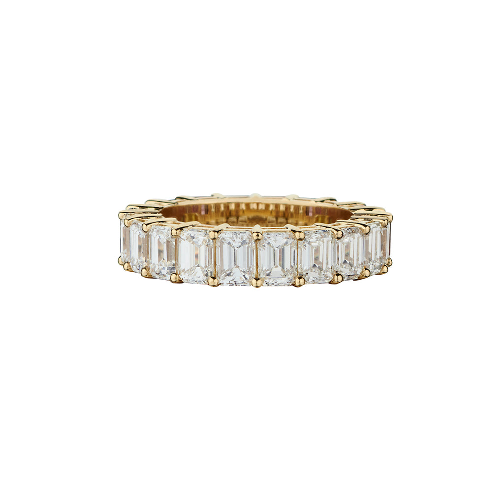 HALF DIAMOND, HALF MULTICOLOURED GEMSTONE ETERNITY BAND