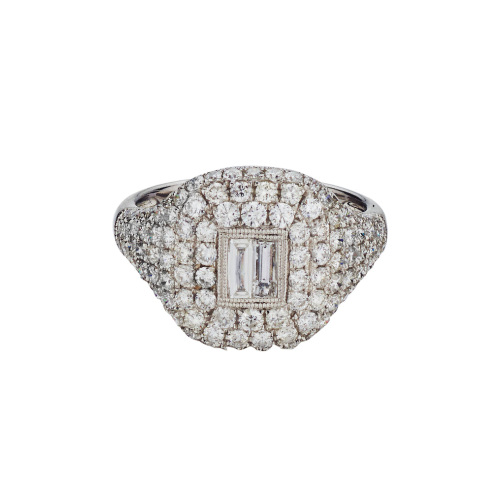 PAVÉ & BAGUETTE DIAMOND SIGNET RING