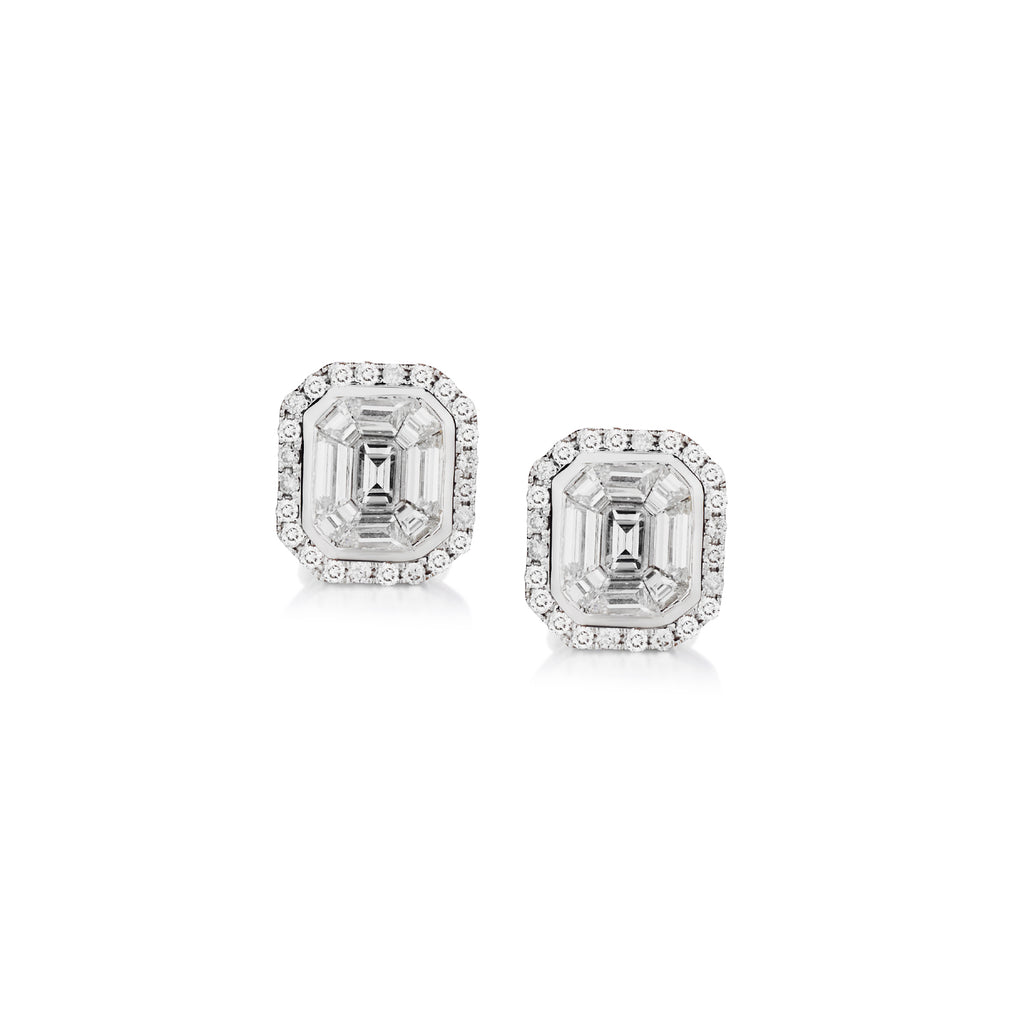 BAGUETTE & DIAMOND FRAME STUD EARRINGS