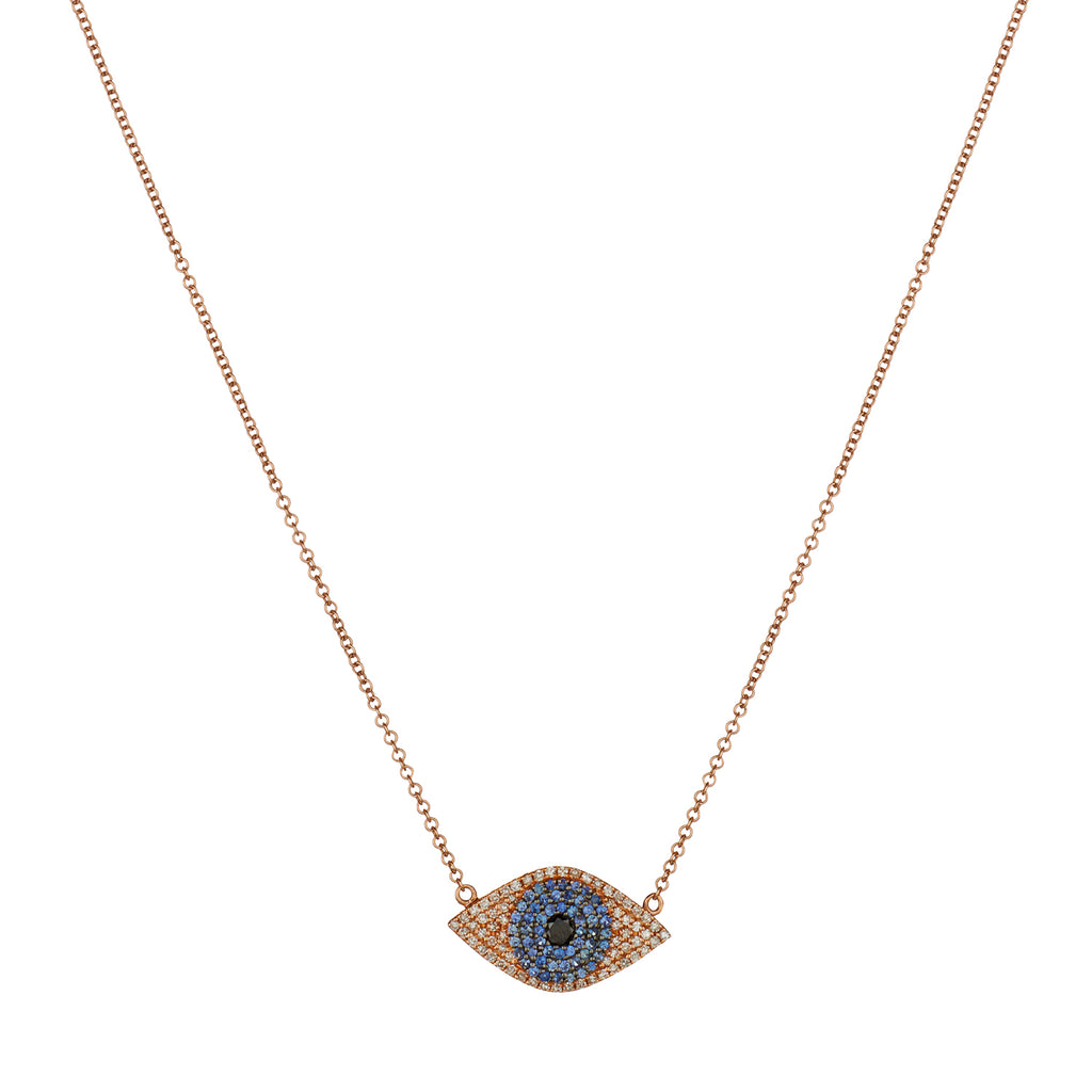 SAPPHIRE & DIAMOND EVIL EYE NECKLACE