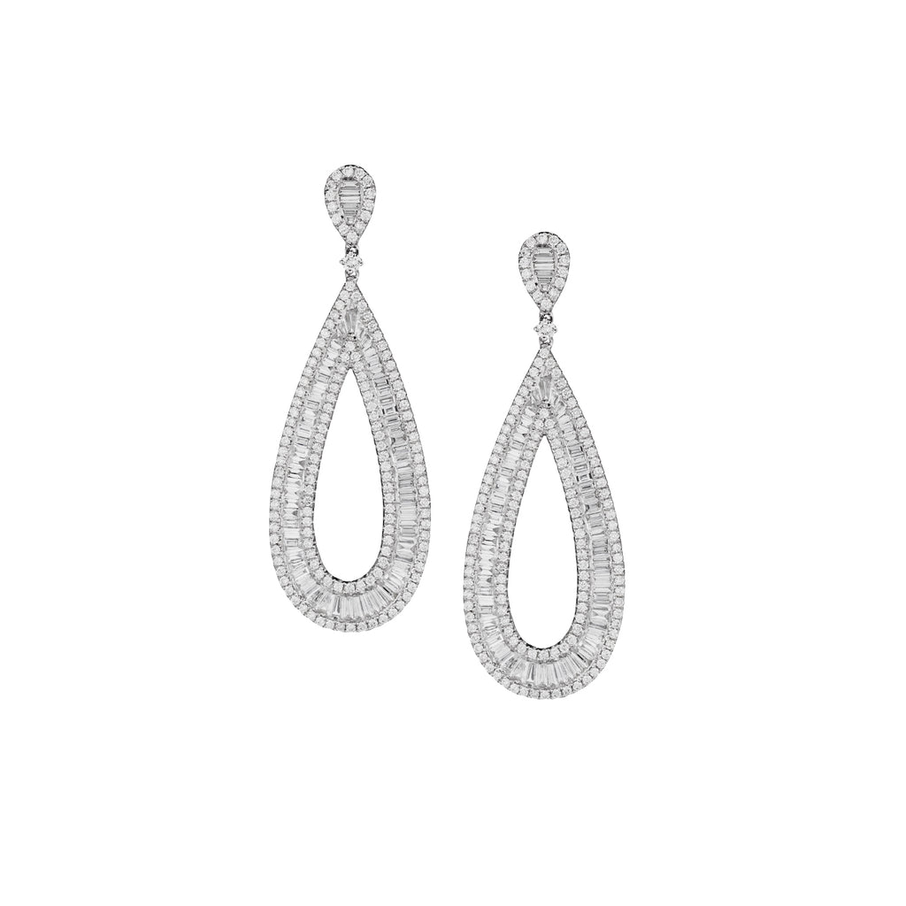 BAGUETTE & ROUND DIAMOND DROP EARRINGS