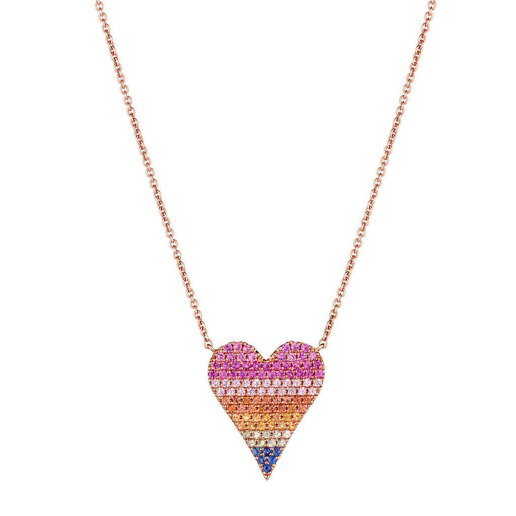 PAVÉ RAINBOW PINCHED HEART NECKLACE