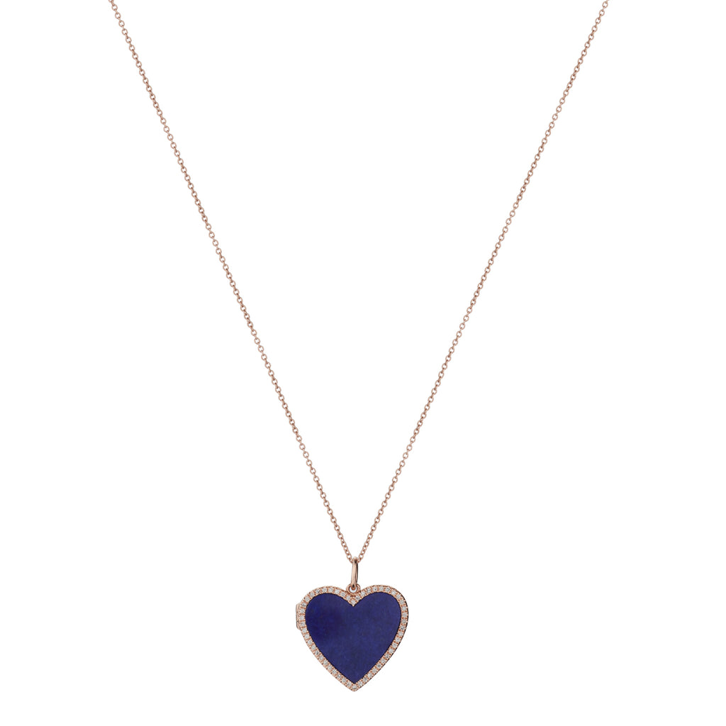LAPIS & DIAMOND HEART LOCKET