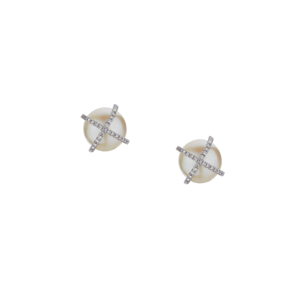 LARGE DIAMOND X PEARL STUDS