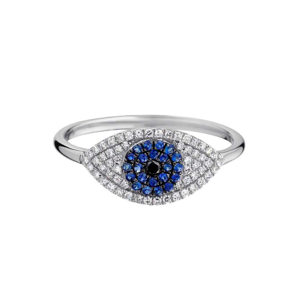 BLUE SAPPHIRE & DIAMOND EVIL EYE RING