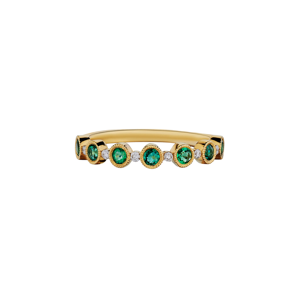 EMERALD & DIAMOND ETERNITY BAND