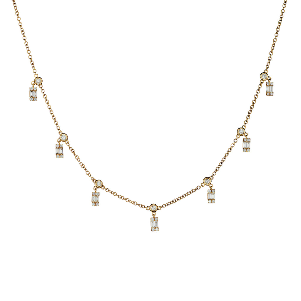 BAGUETTE & ROUND DIAMOND SPRINKLE NECKLACE