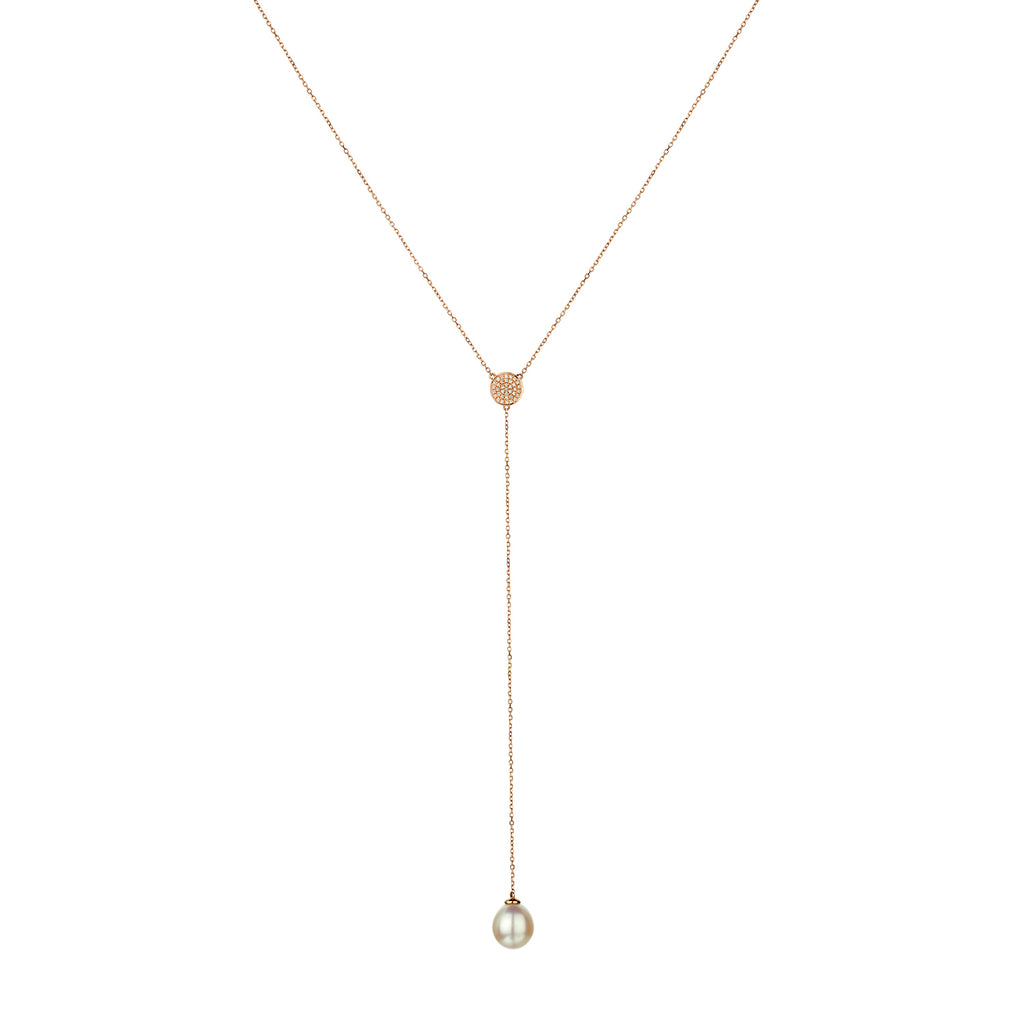 PAVÉ DIAMOND DISC LARIAT WITH FRESHWATER PEARL